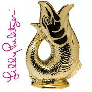 NWT Lilly Pulitzer Gold Metallic Fish Vase